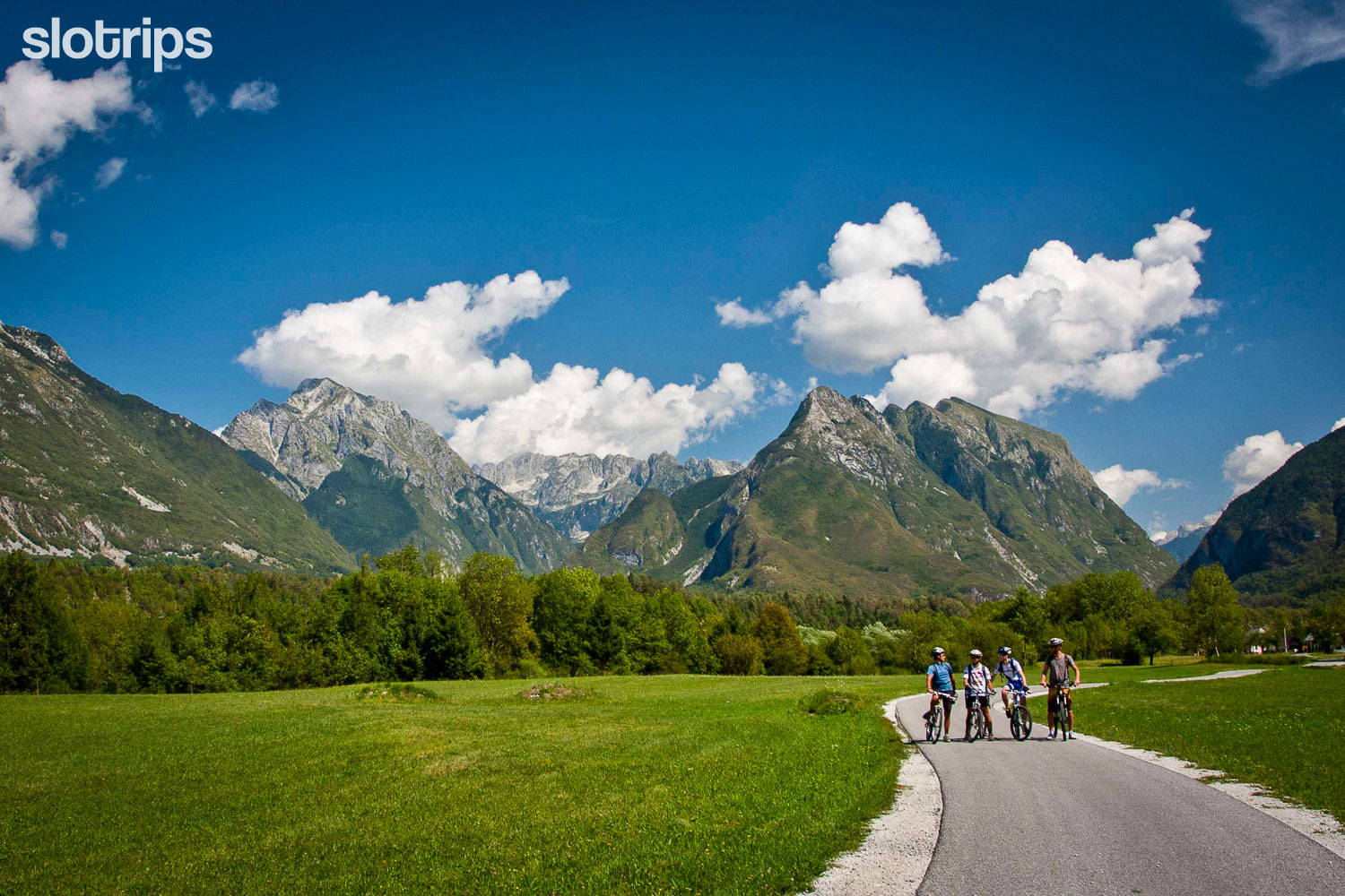 Cycling in the Soca valley near Bovec, Slovenia