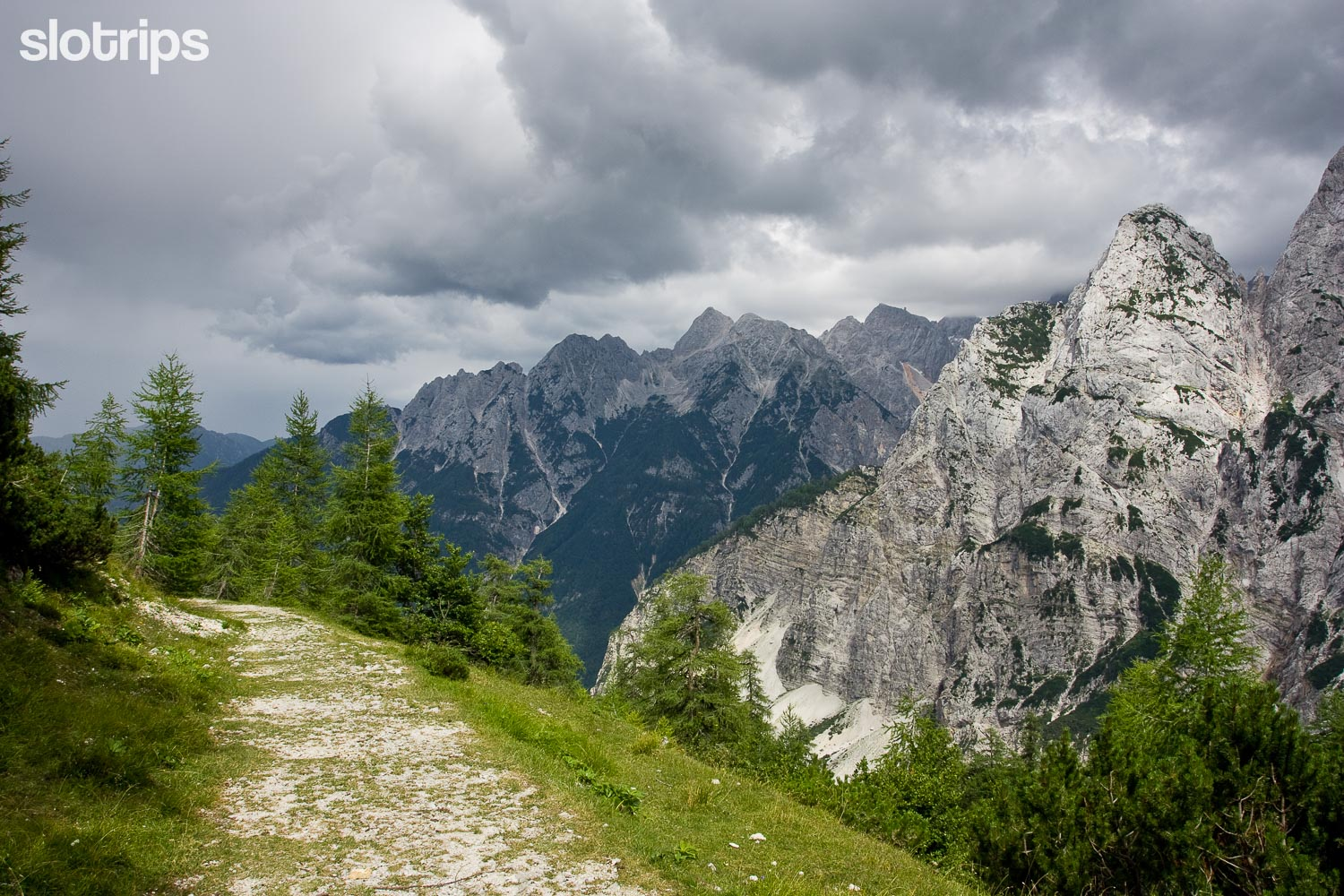 The old Russian road on Vrsic pass in the Julian Alps