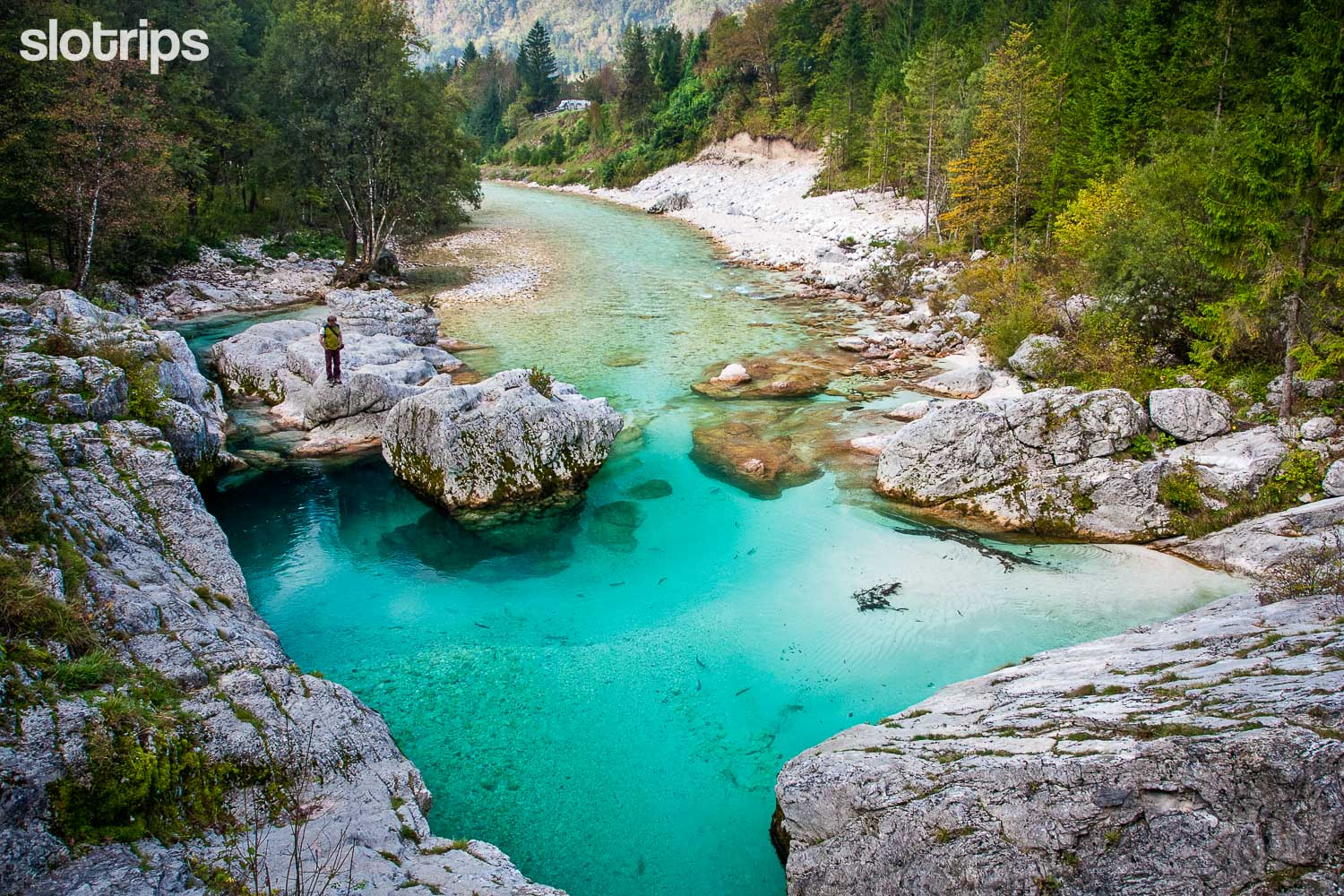 Soca river on the Alpe-Adria walking trail, Slovenia
