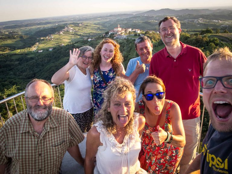 Happy travelers at the end of a hiking tour in Slovenia