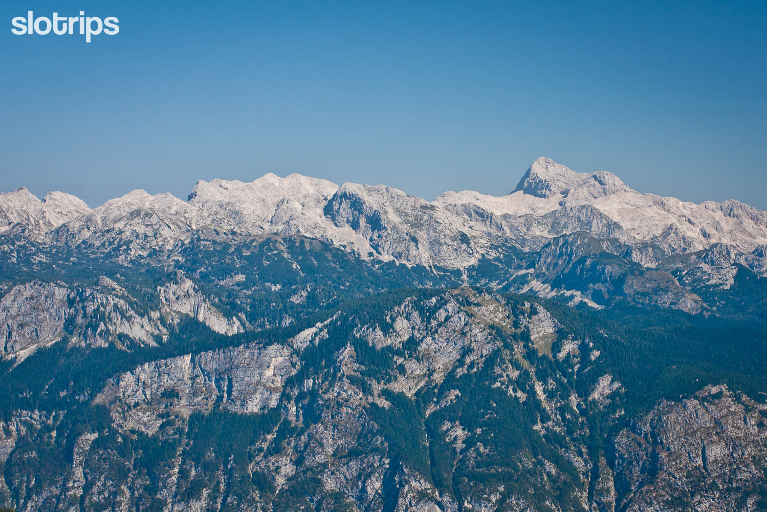 View of the central Julian Alps and the Seven lakes valley, Slovenia