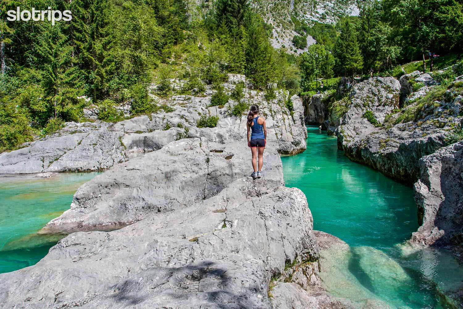 Walking by the Great Soca Gorge in Slovenia