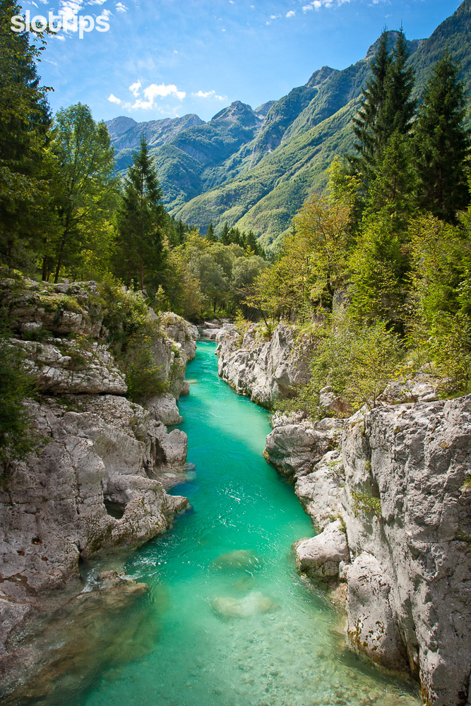 The turquoise color of Soca river in Julian Alps, Slovenia