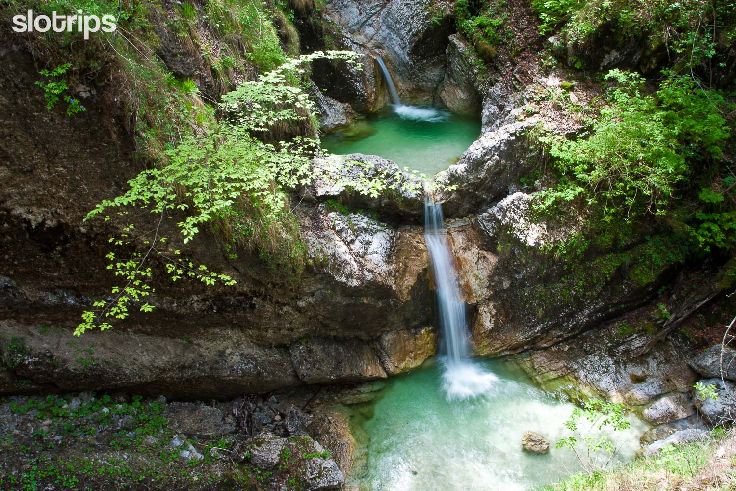 Waterfall in Fratarica canyon in the Soca valley, Slovenia