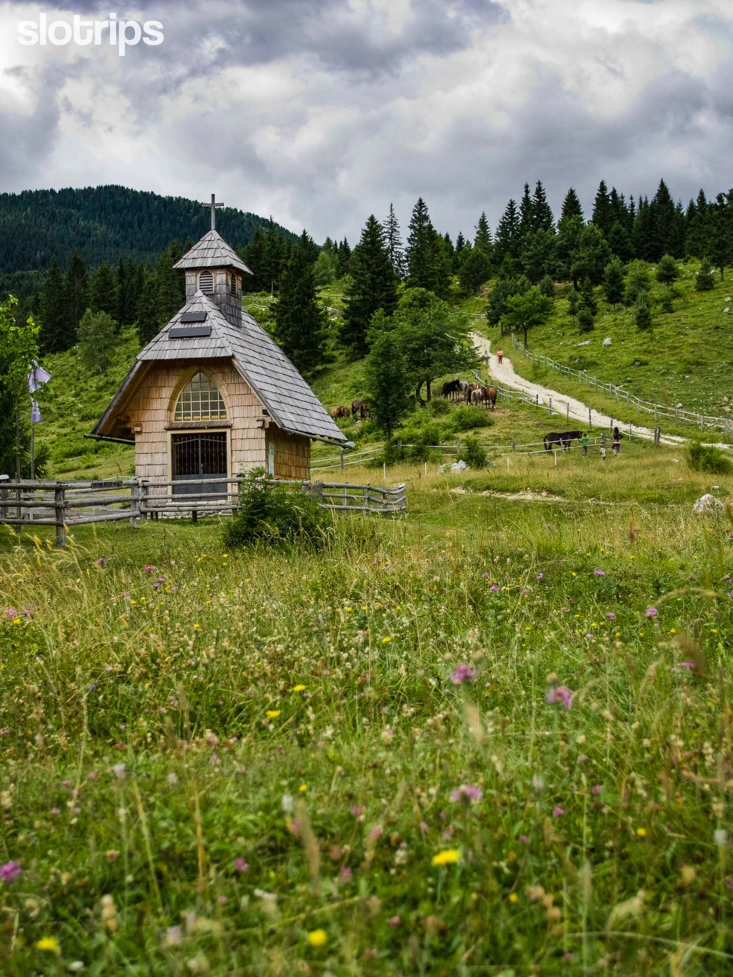 Wooden chapel in the Julian Alps, Slovenia