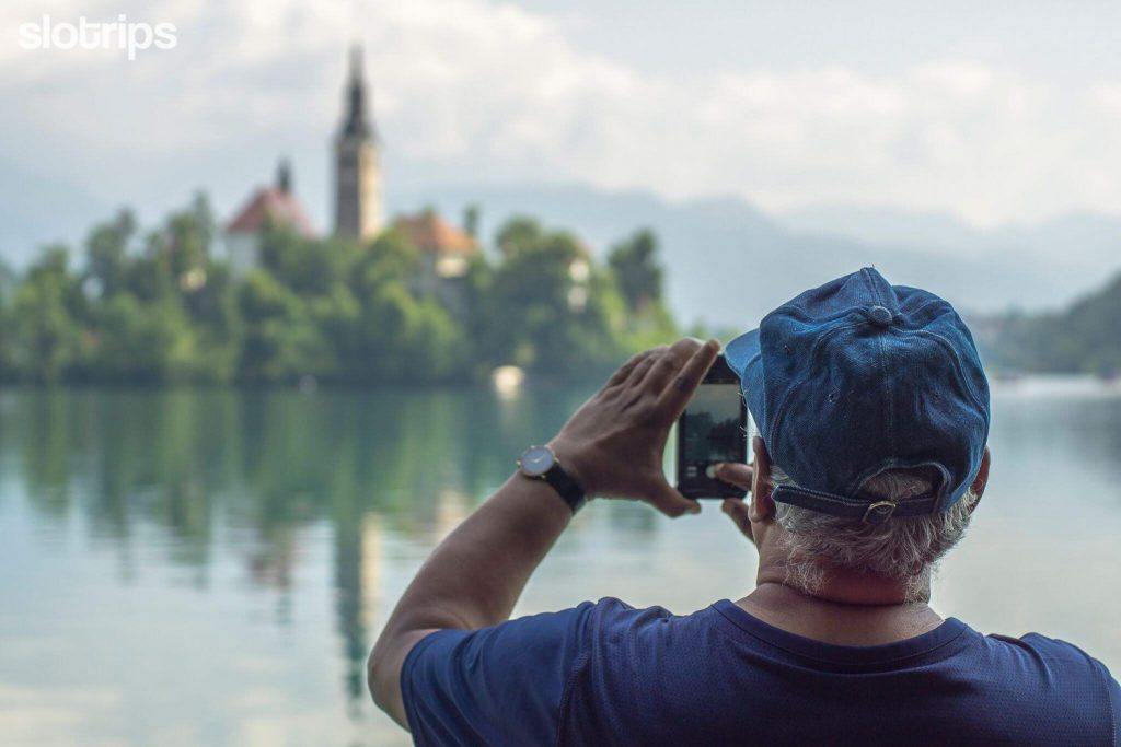 Taking pictures at Lake Bled, Slovenia