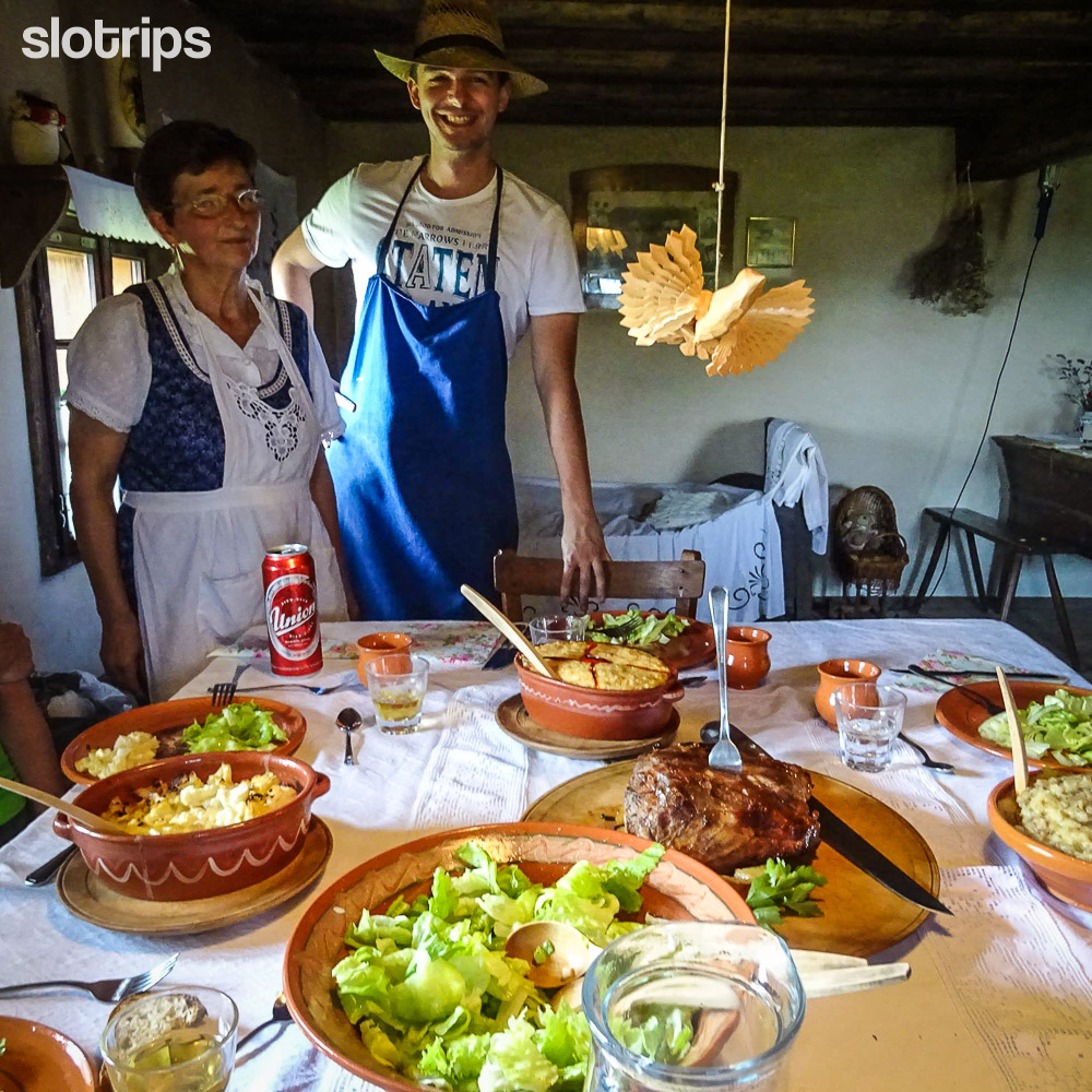 Traditional lunch on Slotrips walking trips in Slovenia