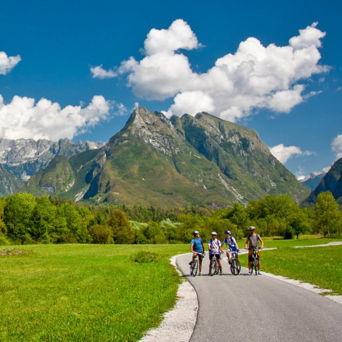 Cyclists in the Soca valley in Slovenia