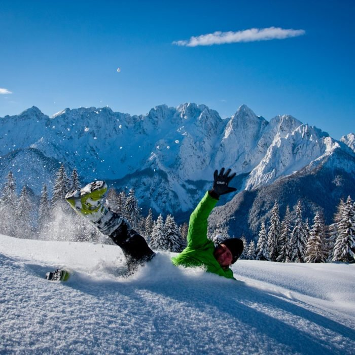 Sunny winter in the Julian Alps in Slovenia