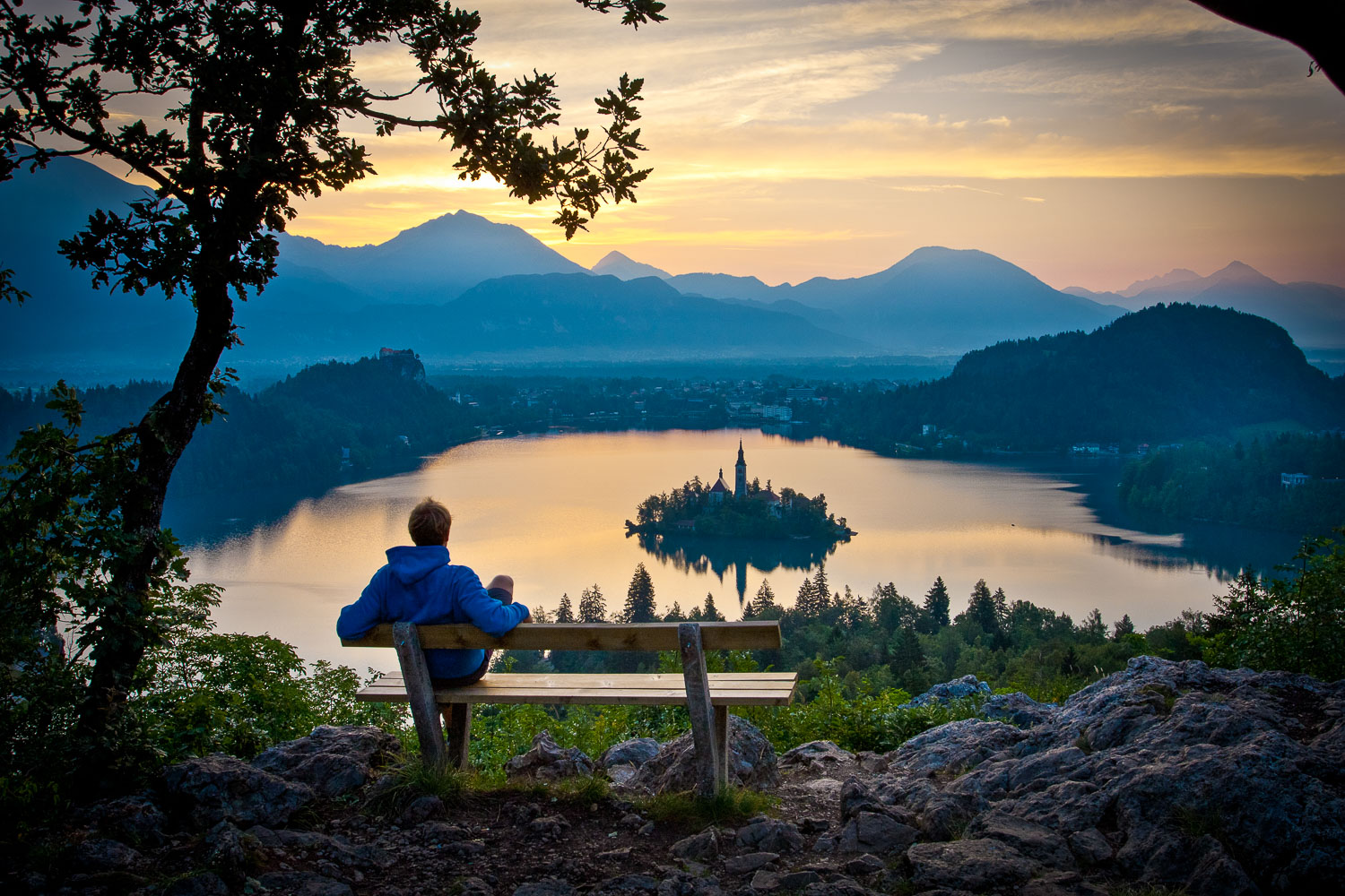 Lake Bled at sunrise from Ojstrica viewpoint