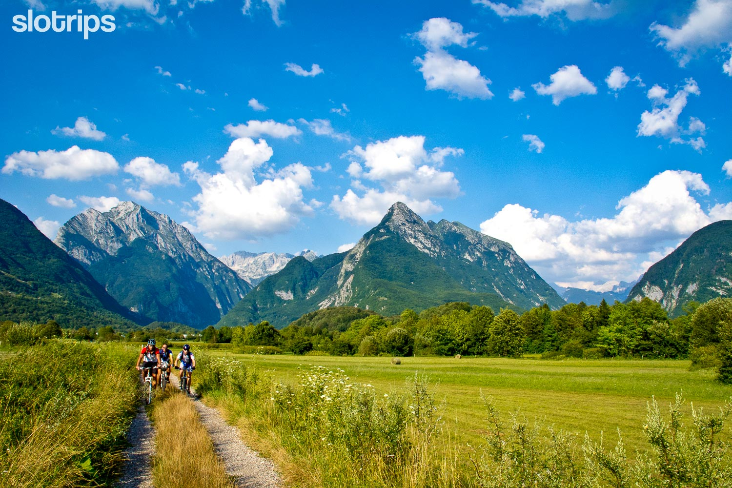 Biking in the Soca valley near Bovec, Slovenia