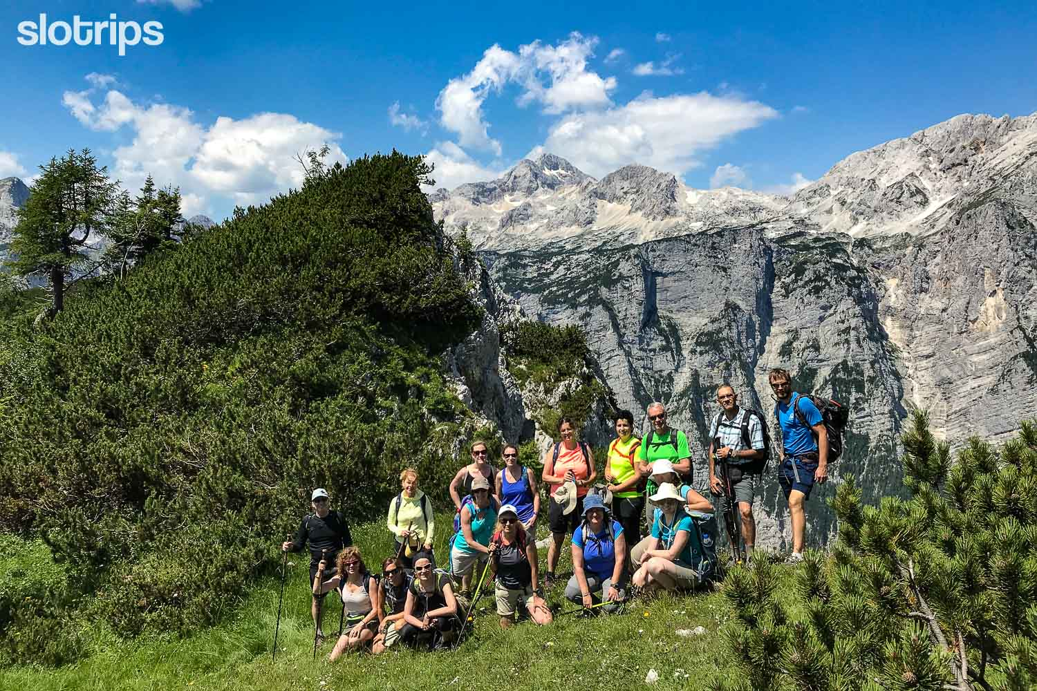 Group of hikers in the Julian Alps, Slovenia
