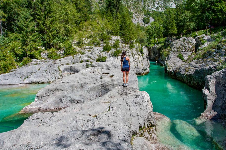 Walking along the Alpe-Adria trail in the Soca valley, Slovenia