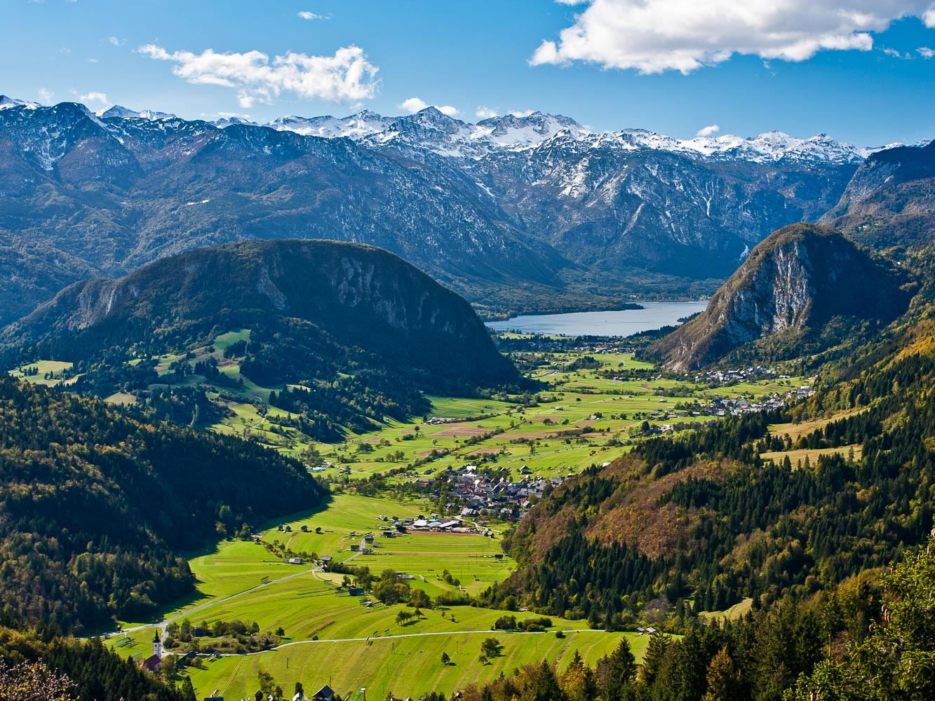 Lake Bohinj and the Upper Bohinj Valley as seen from the Vodnikov Razglednik viewpoint in the Triglav National Park, Vogel Ski Resort is in the background
