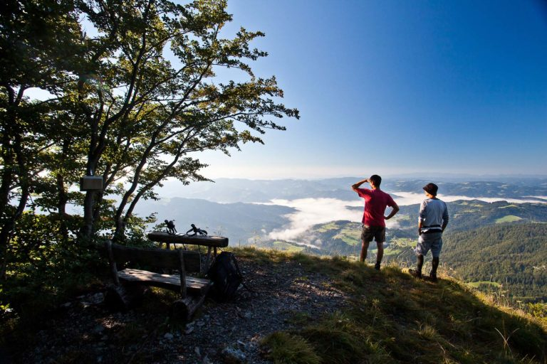 Hikers enjoying the lookout point views of the wooded Skofja Loka hills.