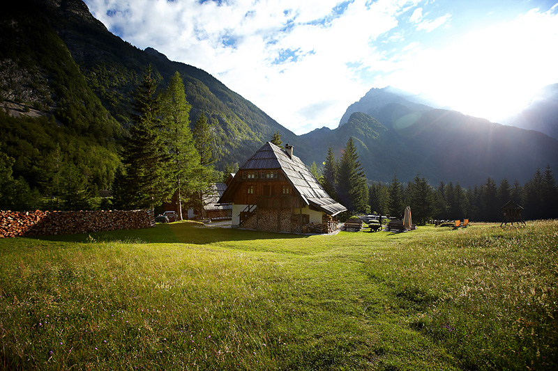 A boutique hotel Kekec Homestead in Trenta valley, an upper part of the famous Soca valley in the Julian Alps in Slovenia