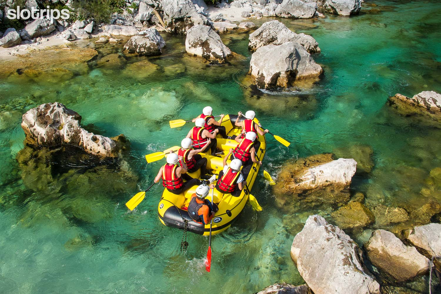 White water rafting on the Soca river in the Soca valley, Slovenia