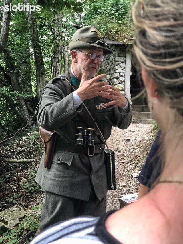 A WWI soldier explaining the events of the Soca Front and telling less known stories from the Soca Valley, Julian Alps, Slovenia