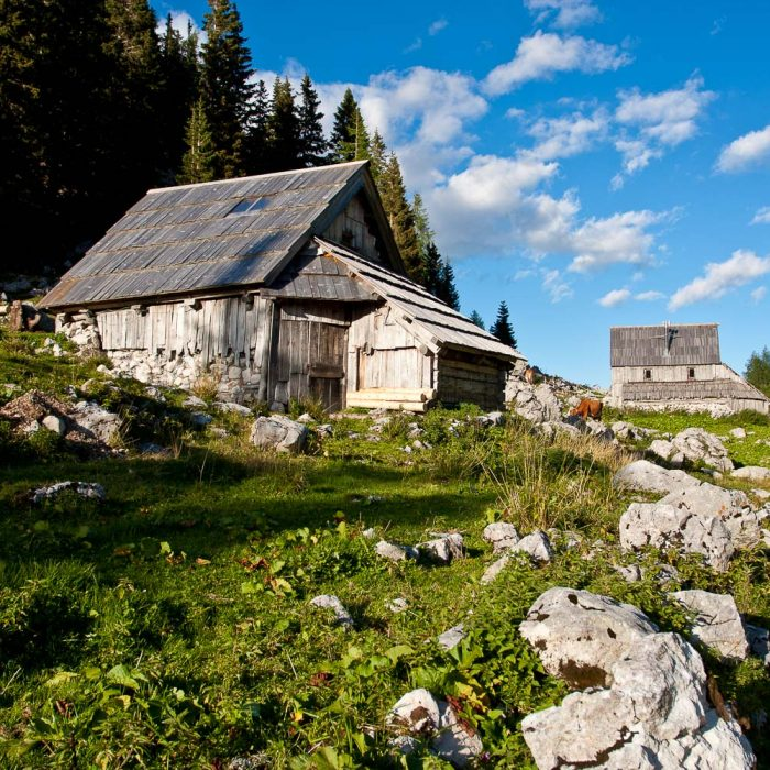 Traditional shepherd's huts in Triglav National Park, Slovenia