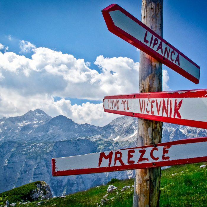 Signposts during a hiking trip in the Julian Alps, Slovenia