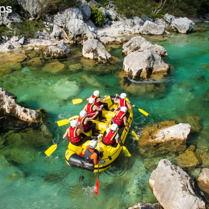 Rafting on the emerald Soca river in Slovenia