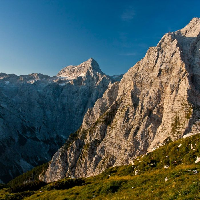 View of Mt. Stenar and Mt. Triglav in the Julian Alps