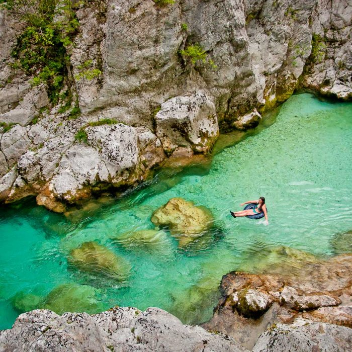 Swimming in the Great Soca Gorge in Slovenia