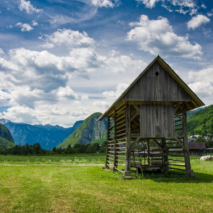 Hayrack in the Bohinj valley in Slovenia